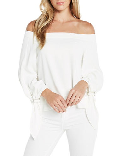 Bardot Buckle Sleeve Top-WHITE-Medium 89208651_WHITE_Medium