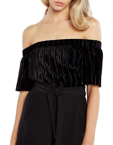 Bardot Velvet Pleated Top-BLACK-Large
