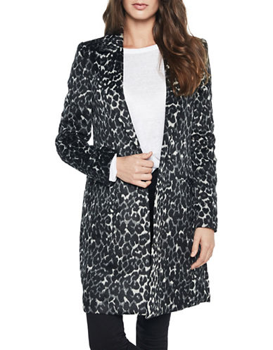 Bardot Long-Line Mini Leopard-Print Coat-LEOPARD-Small