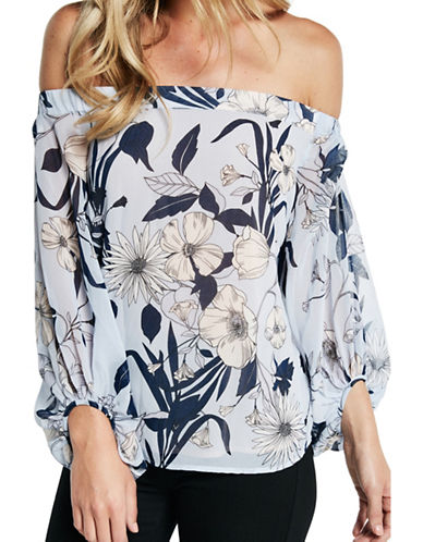 Bardot Poppy Floral Off-the-Shoulder Top-BLUE MULTI-Medium