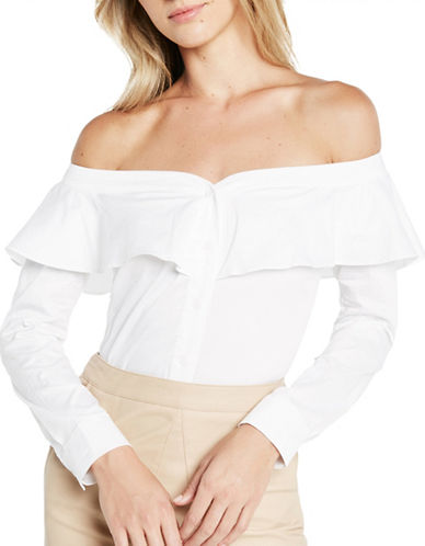 Bardot Natasha Frill Cotton Shirt-WHITE-Medium