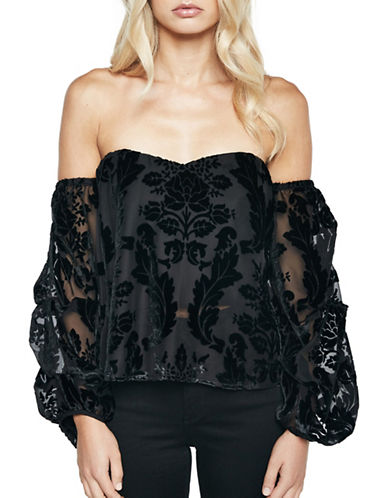 Bardot Off-The-Shoulder Burnout Bustier Top-BLACK-Large