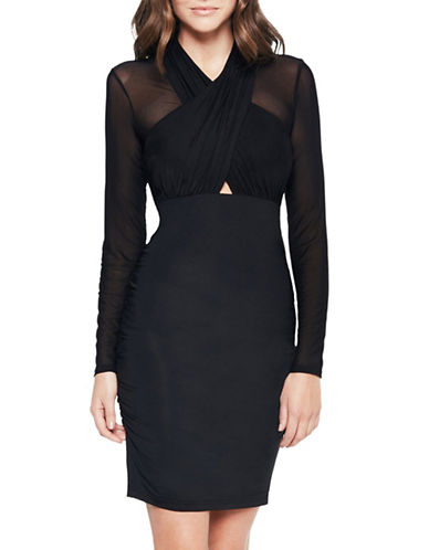 Bardot Allure Long-Sleeve Wrap Dress-BLACK-Medium