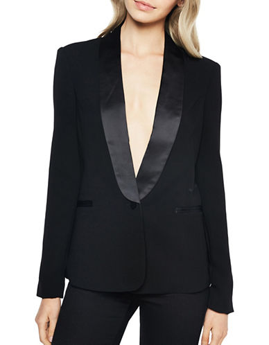 Bardot Buttoned Satin Blazer-BLACK-Small