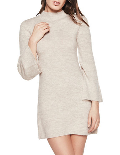 Bardot Bell Sleeve Sweater Dress-BEIGE-X-Small