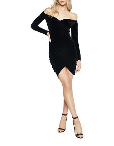 Bardot Velvet Wrap Dress-BLACK-Large