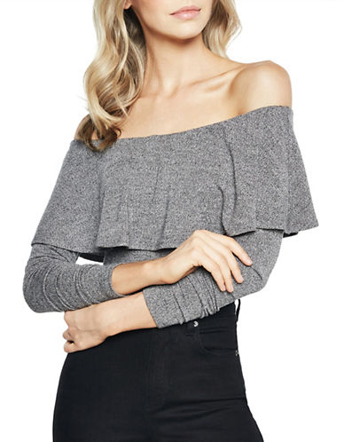 Bardot Ruffled Long-Sleeve Bodysuit-GREY-Large