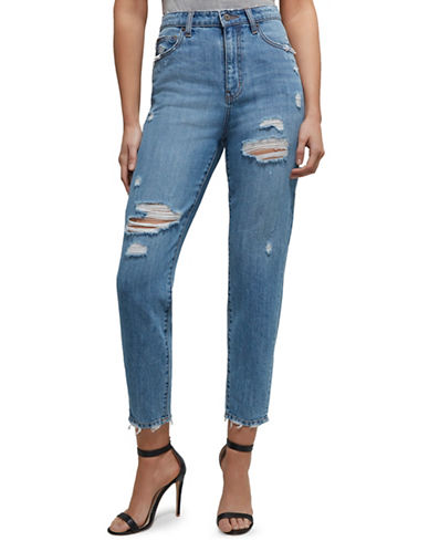 Bardot Distressed Cotton Jeans-BLUE-X-Small