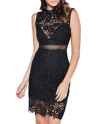 Bardot Lace Illusion Sheath Dress-BLACK-Small