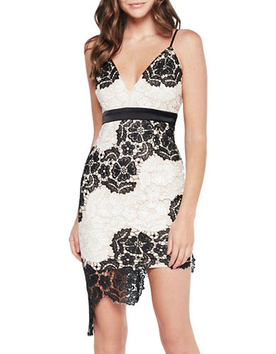 Bardot Eve Asymmetric Lace Mini Dress-WHITE/BLACK-Medium