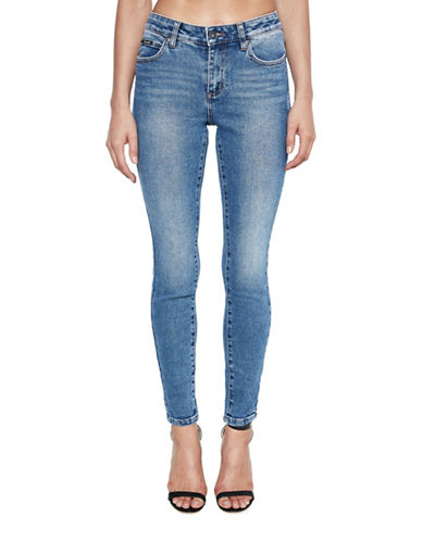 Bardot Hayley Hipster Low-Rise Jeans-BLUE-Medium