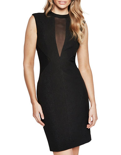 Bardot Snake Mesh Dress-BLACK-Medium