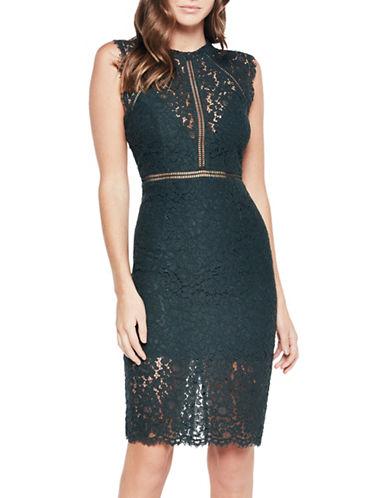 Bardot Lace Panel Dress-FOREST-Small
