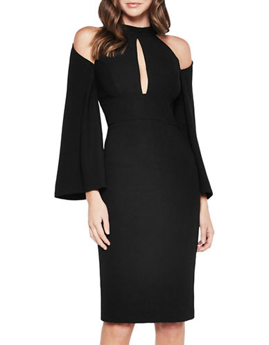 Bardot Cold-Shoulder Sheath Dress-BLACK-X-Small