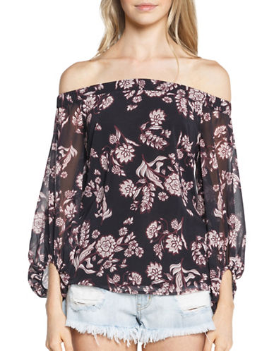 Bardot Off-the-Shoulder Printed Blouse-PURPLE-X-Small