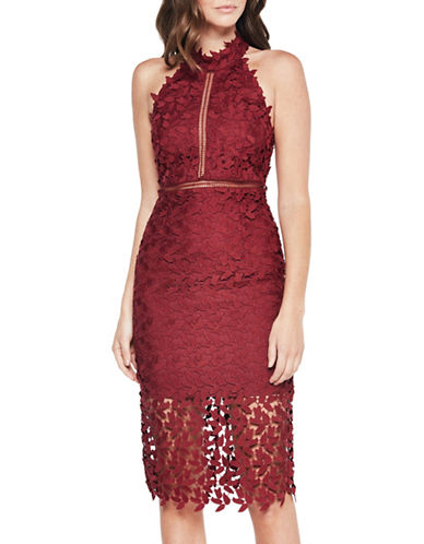 Bardot Gemma Lace Dress-RED-X-Small
