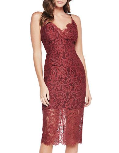 Bardot Pencil Lace Dress-RED-X-Small