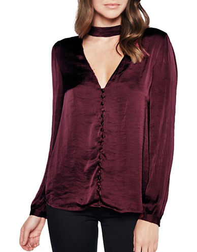 Bardot Satin Keyhole Top-BURGUNDY-Medium