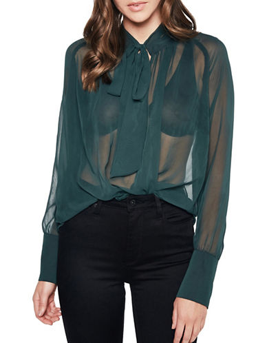 Bardot Bow Tie Shirt-GREEN-Small