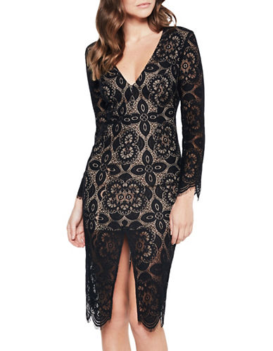 Bardot Lace Sheath Dress-BLACK-Large