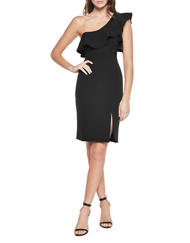 Bardot Ruffled One Shoulder Sheath Dress-BLACK-Large