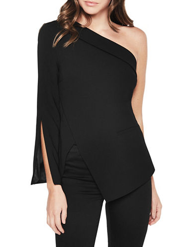 Bardot One-Shoulder Split Sleeve Blouse-BLACK-Medium