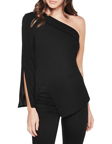 Bardot One-Shoulder Split Sleeve Blouse-BLACK-X-Small