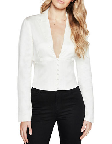 Bardot Corset Button-Down Shirt-IVORY-X-Small