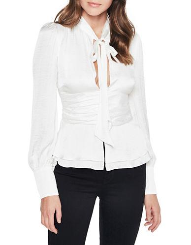 Bardot Self-Tie Plunge Top-WHITE-Large 89610401_WHITE_Large