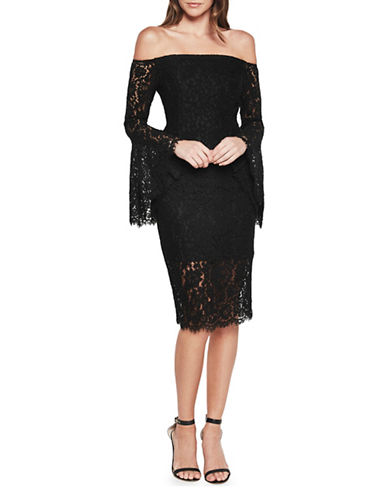 Bardot Solange Bell Sleeve Lace Dress-BLACK-X-Small