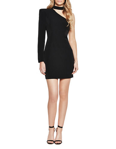 Bardot Choker-Neck One-Sleeve Dress-BLACK-X-Small
