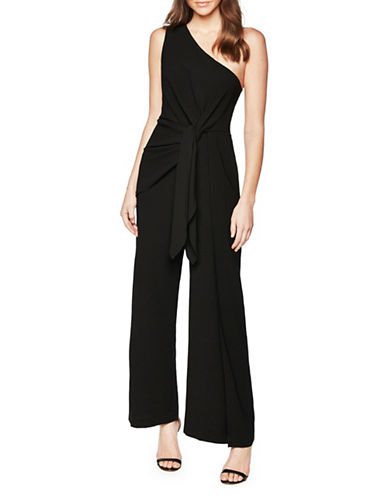 Bardot Tie-Front Single Shoulder Jumpsuit-BLACK-Large