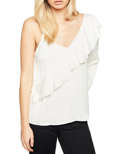 Bardot Frilled One-Shoulder Top-WHITE-Large