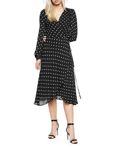 Bardot Betty Spot Circle Wrap Dress-BLACK-Small
