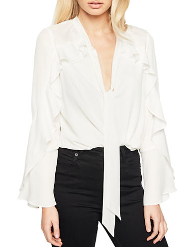 Bardot Bell Sleeve Frill Blouse-WHITE-Large