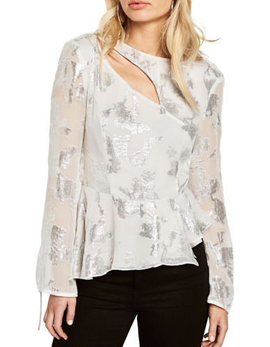 Bardot Floral-Print Burnout Fluted Top-WHITE-X-Small