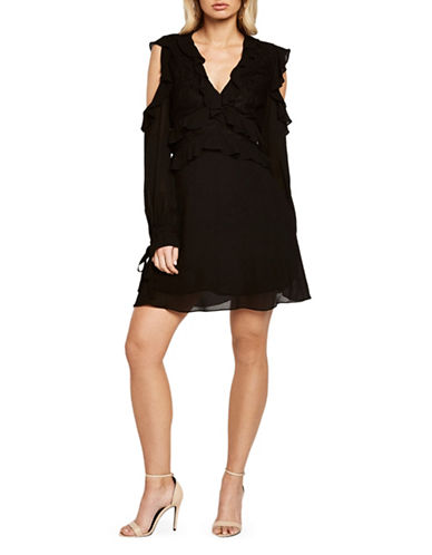 Bardot Cold-Shoulder Dress-BLACK-Medium