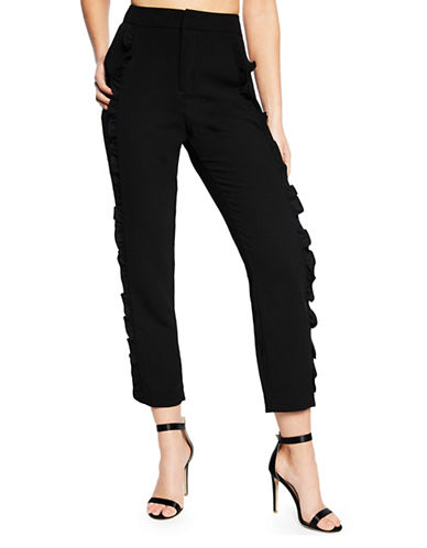 Bardot Frill Cigarette Pants-BLACK-X-Small