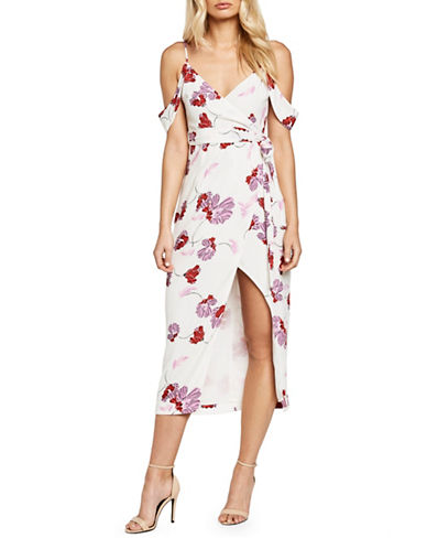 Bardot Floral Cold-Shoulder Wrap Dress-WHITE-Medium
