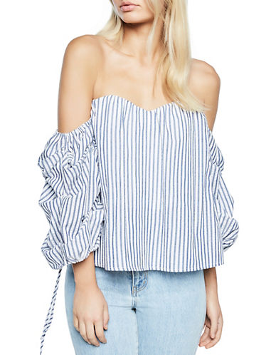 Bardot Off-the-Shoulder Tie-Sleeve Bustier Top-BLUE/WHITE-Large 89859763_BLUE/WHITE_Large