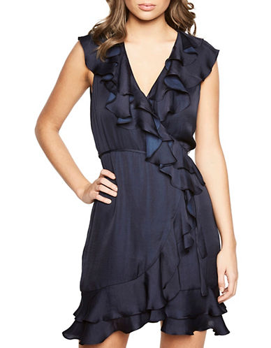 Bardot Layered Frill Dress-NAVY-Small