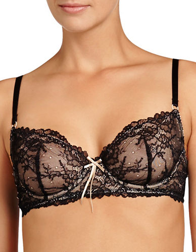 Heidi By Heidi Klum Natural French Lace Bra-BLACK-34B