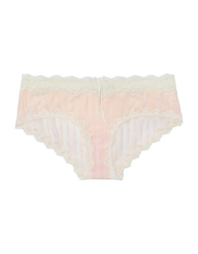 Heidi By Heidi Klum Stripe Mesh with Lace Hipster-PINK-Medium