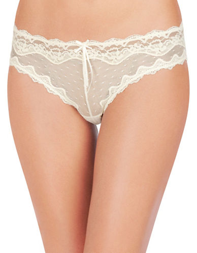 Heidi By Heidi Klum Dot Mesh with Lace Cheeky Panty-WHITE-Large