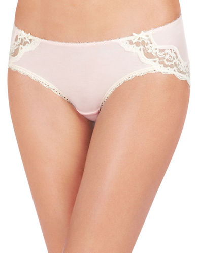 Heidi By Heidi Klum Lace-Trimmed Modal Hipster-LIGHT PINK-Small