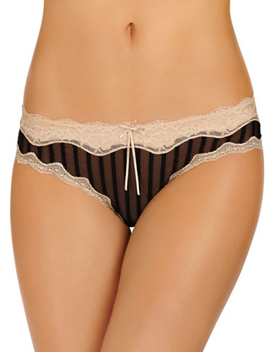 Heidi By Heidi Klum Stripe Mesh with Lace Cheeky panty-BLACK-Large
