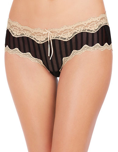 Heidi By Heidi Klum Stripe Mesh with Lace Hipster-BROWN-Small