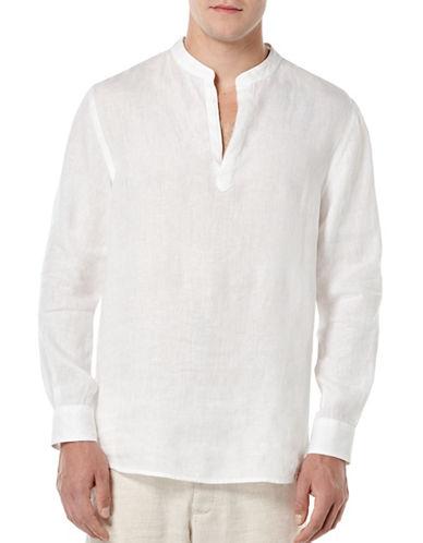 Perry Ellis Linen Shirt-WHITE-Large