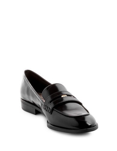 Nine West Jesstom Leather Loafers-BLACK PATENT-8