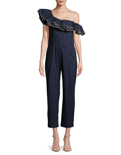 Sea Ny Carmen Ruffle-Trim Jumpsuit-NAVY-0